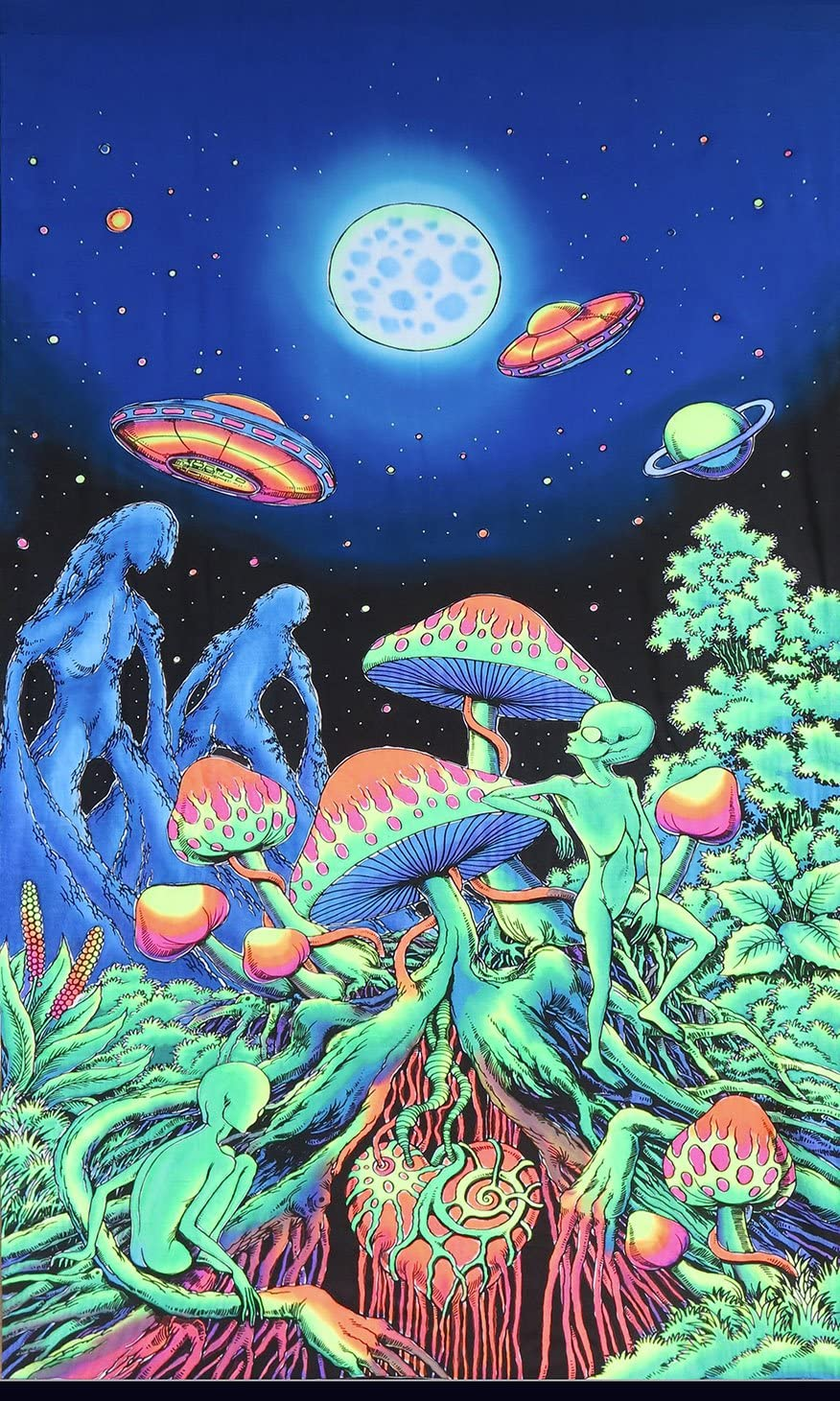 Space Tribe Psychedelic Tapestry Alien Shrooms - Hand-painted and  silkscreen batik wall-hanging - UV active wall-hanging -Trippy wall art -  Black light active trippy tapestry - Fantasy tapestry Amazoncouk  Kitchen  Home