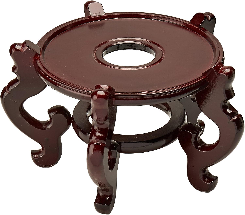 Oriental Furniture Rosewood Fishbowl Stand - Size 8.5 in. Base Diameter