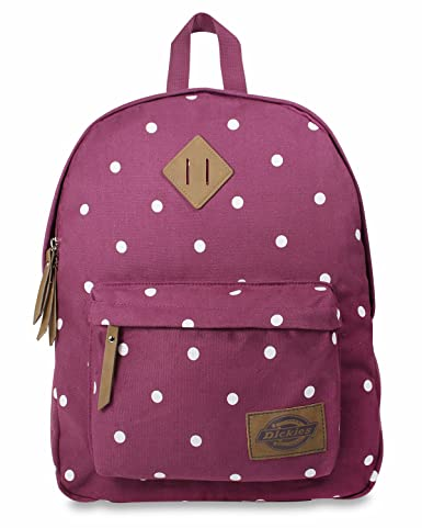 Dickies Cotton Canvas Classic Backpack, Wine Polka Dot