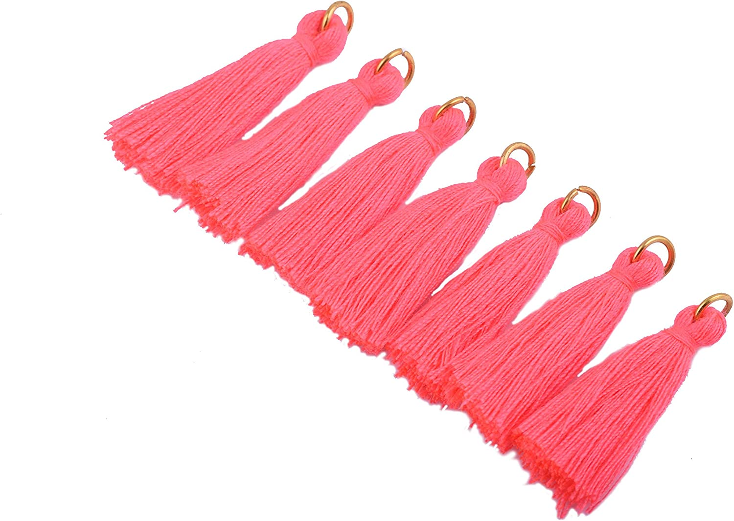3.5cm Plum Soft Handmade Silky Tiny Craft Tassels with Golden Jump Ring for DIY Projects KONMAY 50PCS 1.4