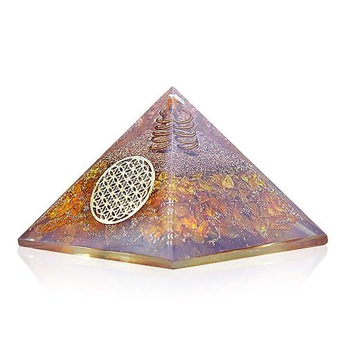 Orgonite Crystal Citrine Flower of Life Orgone Pyramid
