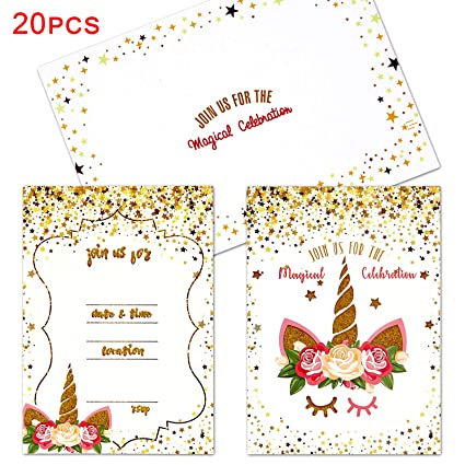 20 Unicorn Birthday Party Invitations Thank You Cards With Envelopes Unicorn Party Supplies Blank Cards For Girl Birthday Invitations Kids Fill In