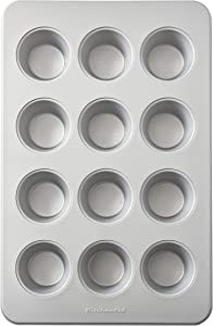 KitchenAid Nonstick Muffin Pan, 12-Cup, Silver