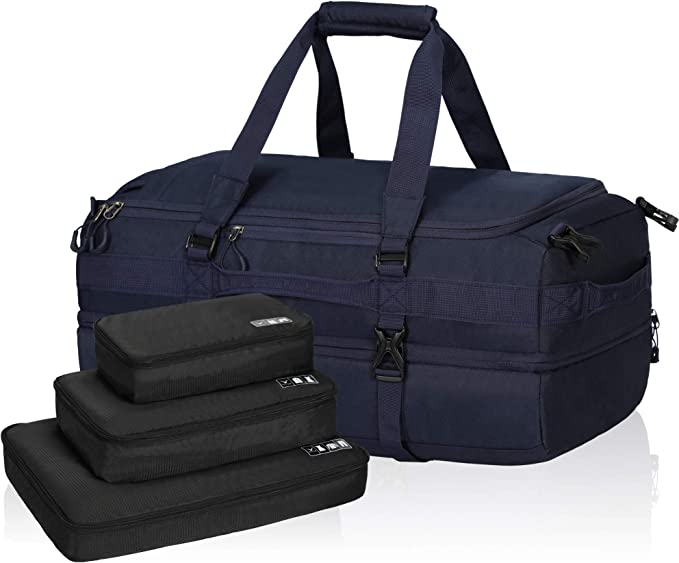 Hynes Eagle 38L Duffel Backpack Dual Layers Travel Weekender Bag with Packing Cubes for Men Women