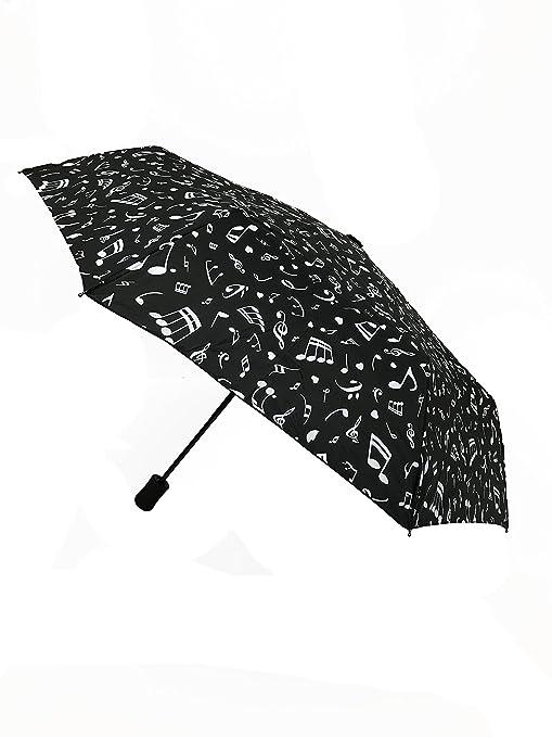 SMATI Música Nota Paraguas Plegable señora Abre-Cierra automático Antiviento - sólido