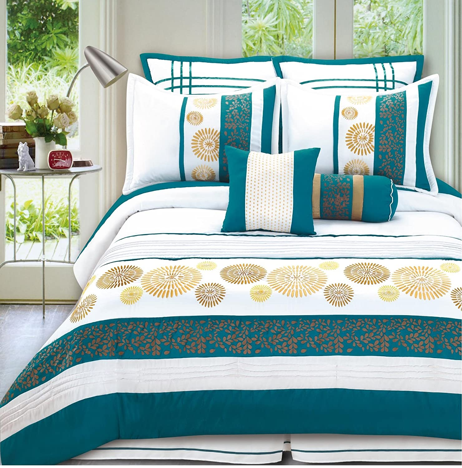 Bednlinens 8 Piece Turquoise gold Beaufort Bedding forter set