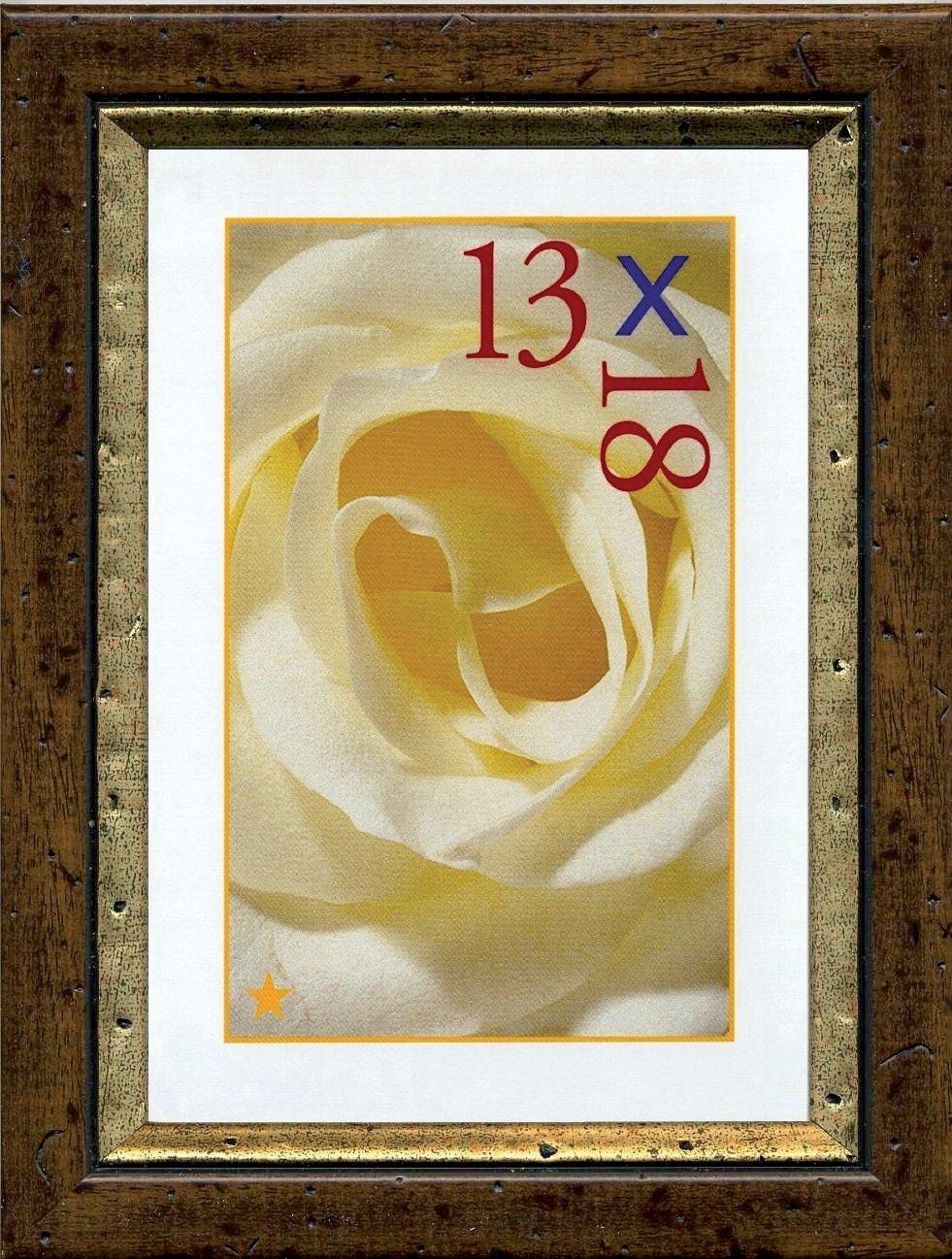 13x18 cm Cornice Portafoto COLBERT 25 mm Arte Povera in Legno Noce con filo Oro