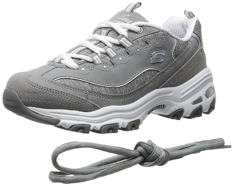 ce30614f5a4 Skechers Zapatillas con cordones de espuma viscoelástica D Lites para mujer  Gris blanco