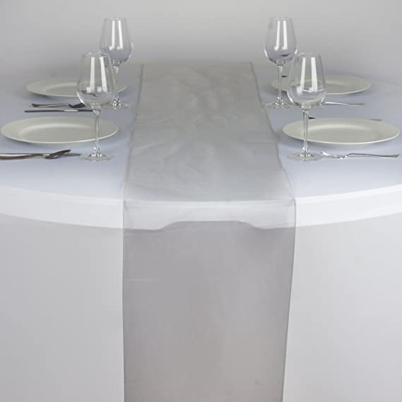 BalsaCircle 5 pcs 14 x 108-Inch Silver Organza Table Top Runners - Wedding Party Event Reception Occasions Linens Decorations