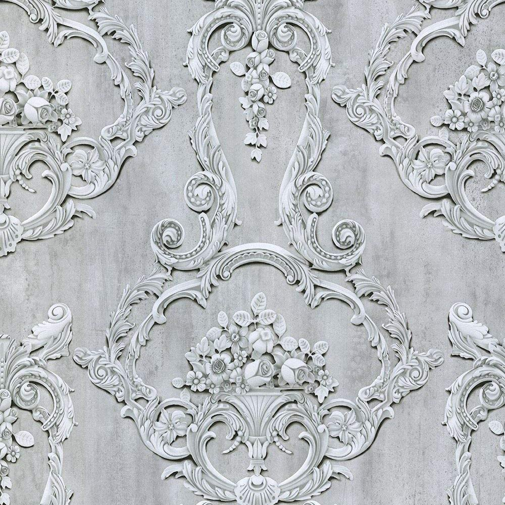 Grosvenor 3d Effect Floral Damask Wallpaper Grey Debona 6217