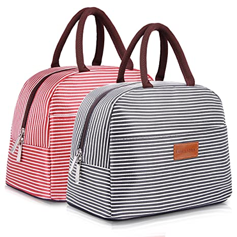 0a93bb160dc9 BALORAY Lunch Bag for Women Men Lunch Tote Bag Lunch Organizer Lunch Holder  Lunch Container (Black+Red White Stripes)