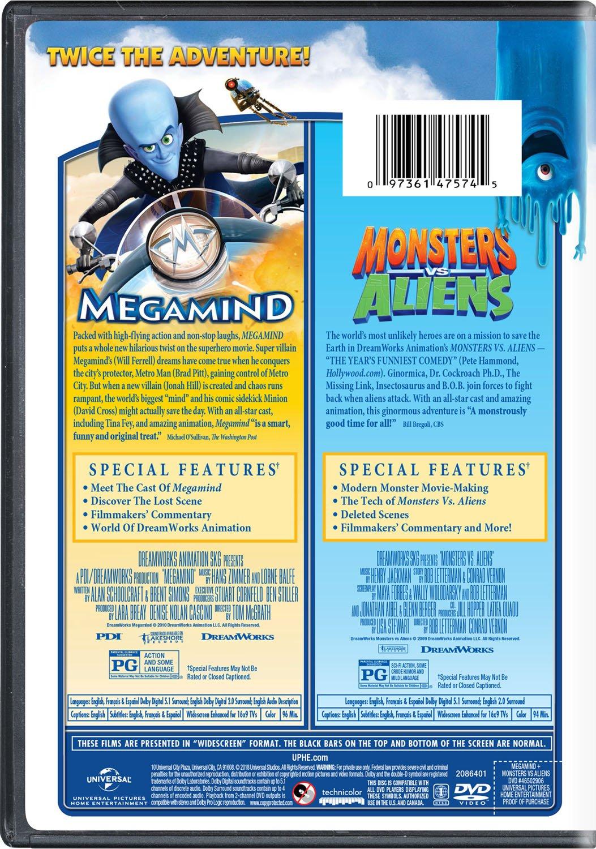Amazon Com Megamind Monsters Vs Aliens Double Feature Will Ferrell Reese Witherspoon Tina Fey Seth Rogen Jonah Hill Hugh Laurie David Cross Will Arnett Brad Pitt Kiefer Sutherland Ben Stiller Rainn Wilson