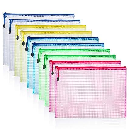 ZWOOS 10 Pcs Bolsa de Archivo de Cremallera, Carpetas Plastico A4, A4 Bolsa de Documentos, Bolsas de Archivo de Malla, Impermeable con Cremallera ...