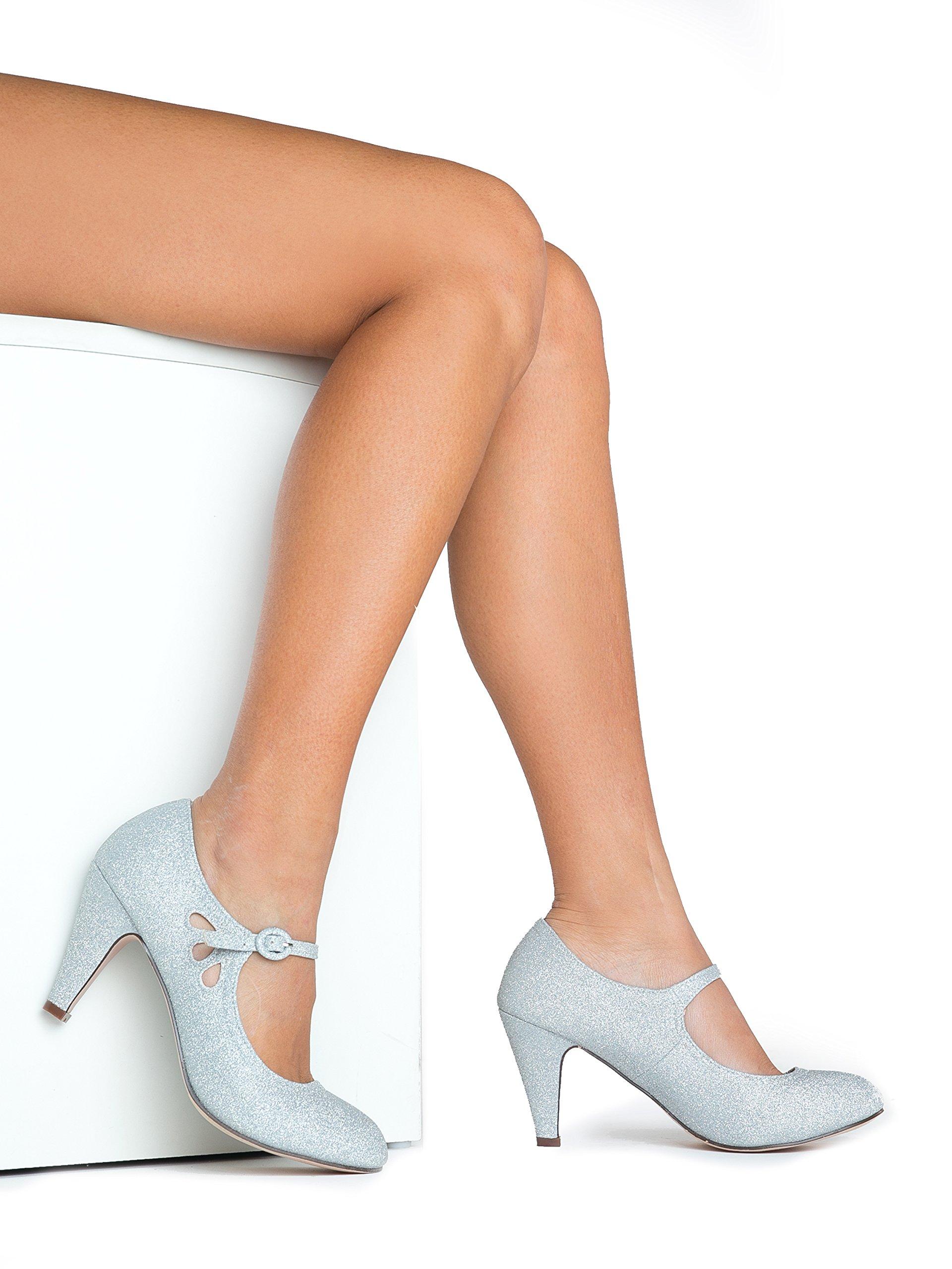 Pixie Mary Jane Heel, Silver Glitter, 8 B(M) US by ZooShoo (Image #6)