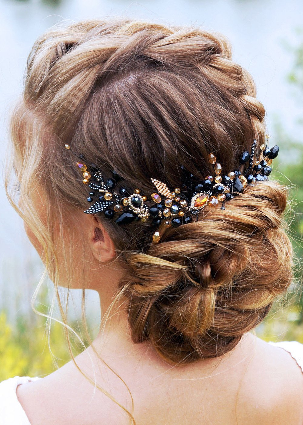 Kercisbeauty Wedding Bridal Bridesmaids Black and Champagne Crystal Beads Long Chain Hair Comb Headband Bridal Hair Comb Slide Headpiece Long Curly Bun Hair Accessories for Prom