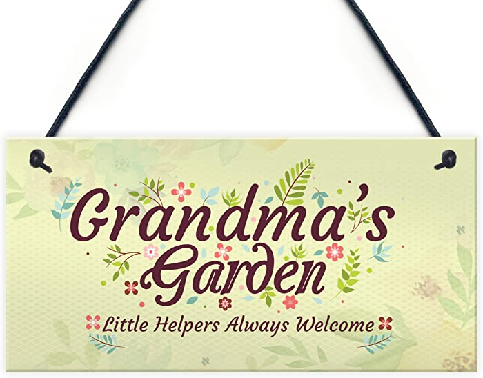 XLD Store Grandma's Garden Novelty Hanging Plaque Summer House Sign Garden Shed Home Decor