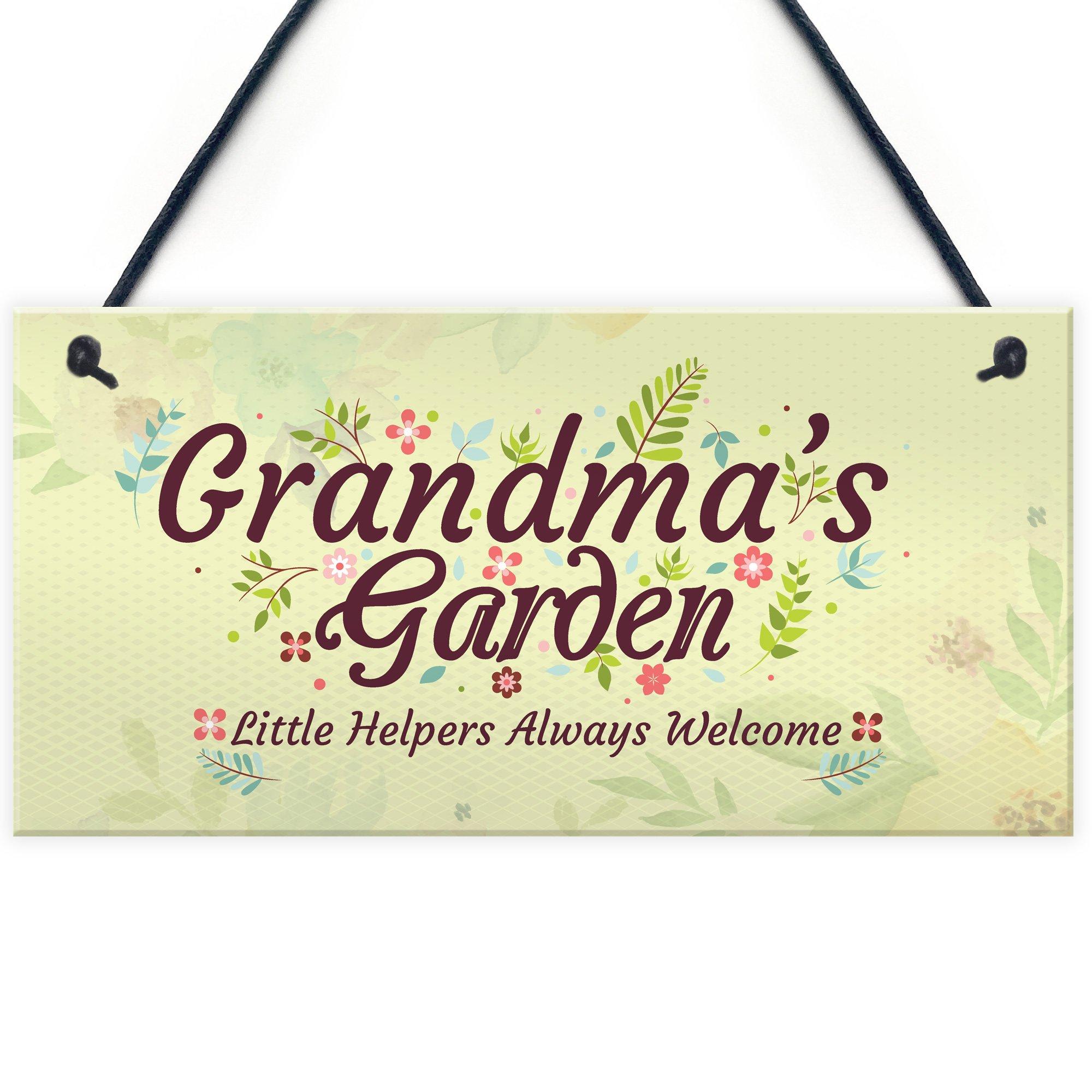 Grandma's Garden Novelty Hanging Plaque Summer House Sign Garden Shed Home Decor