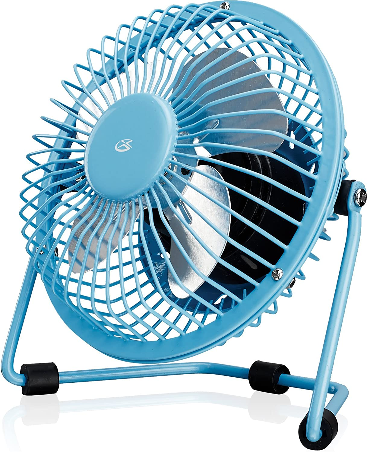 "GPX Mini 4"" USB Personal Fan, Compatible with Computers, Laptops, Portable Chargers, Blue (AU25BU)"