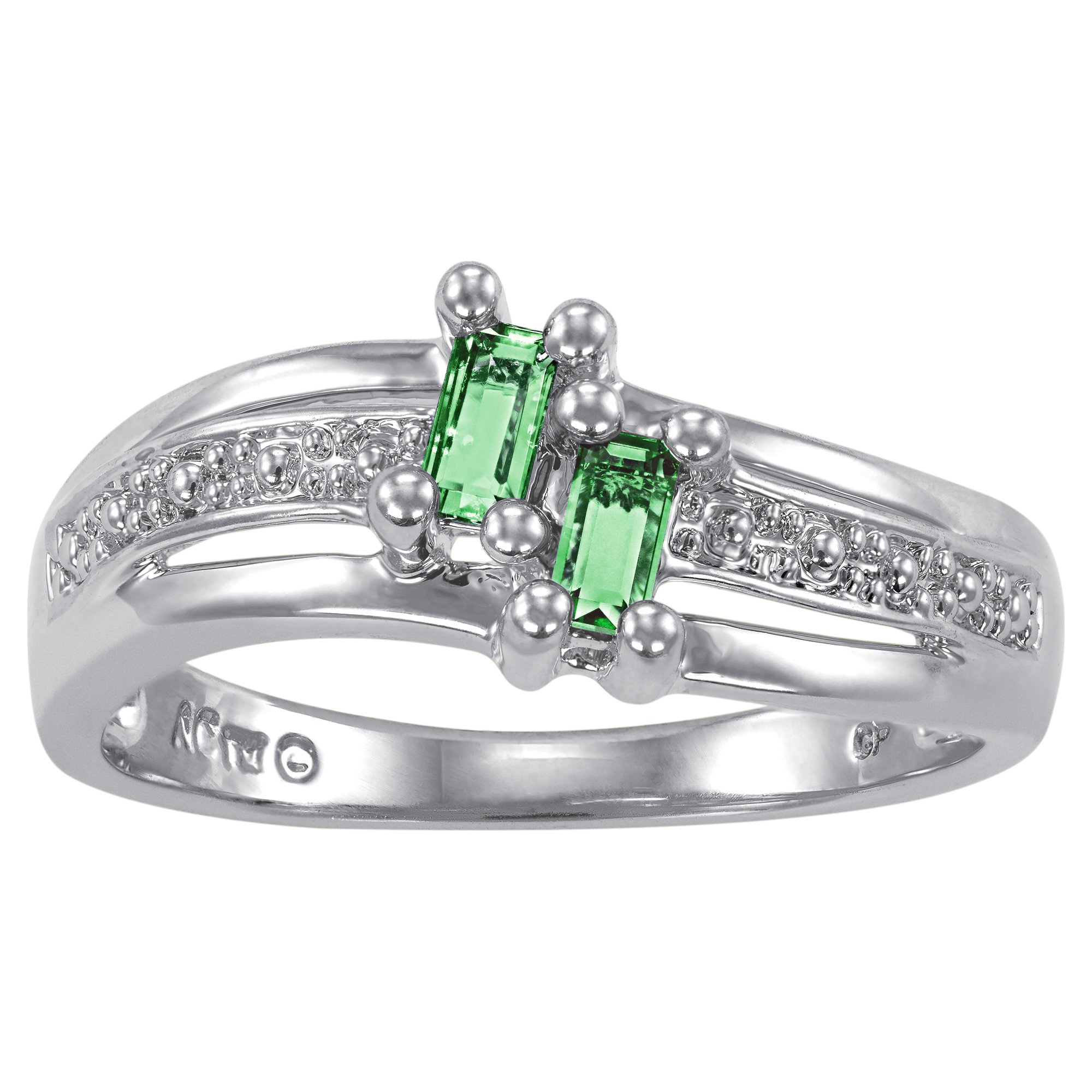 ArtCarved Love Moments Simulated Emerald May Birthstone Ring, Sterling Silver, Size 7