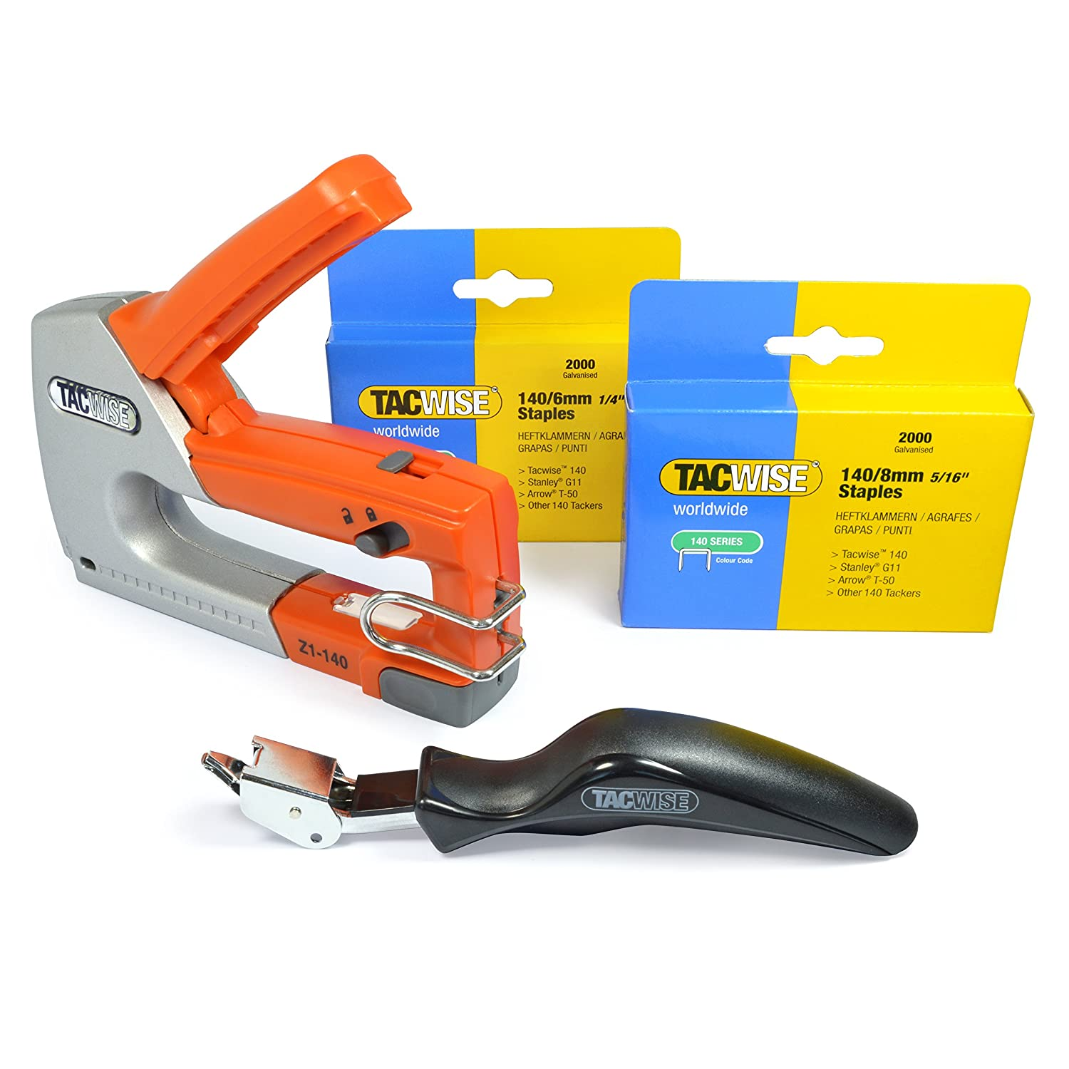 Tacwise Z1-140 Heavy Duty Hand Tacker/Staple Gun for 5/32, 3/16, 1/4 and 5/16 Inches Long Staples, Silver/Orange (0854)