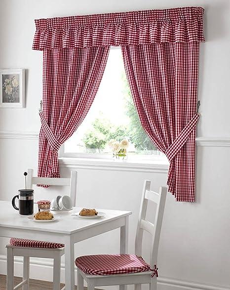 Wonderful Gingham Kitchen Curtains Red 46 X 42