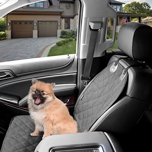 Dog Front Car Seat Cover -Waterproof Non Slip Padded Quilted Protector with Seat Anchors and Heat Straps