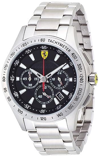 Ferrari 830048 - Reloj analógico de cuarzo para hombre, correa de acero inoxidable color plateado