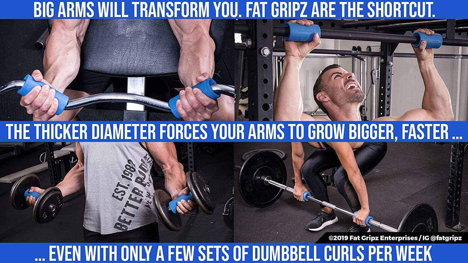 "Fat Gripz - The Award-Winning Shortcut to Head-Turning Arms (2 25""  Diameter, Original)"
