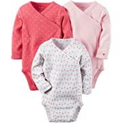 Carter's Baby Girls' 3-Pack Geo Side Snap Bodysuits 6 Months