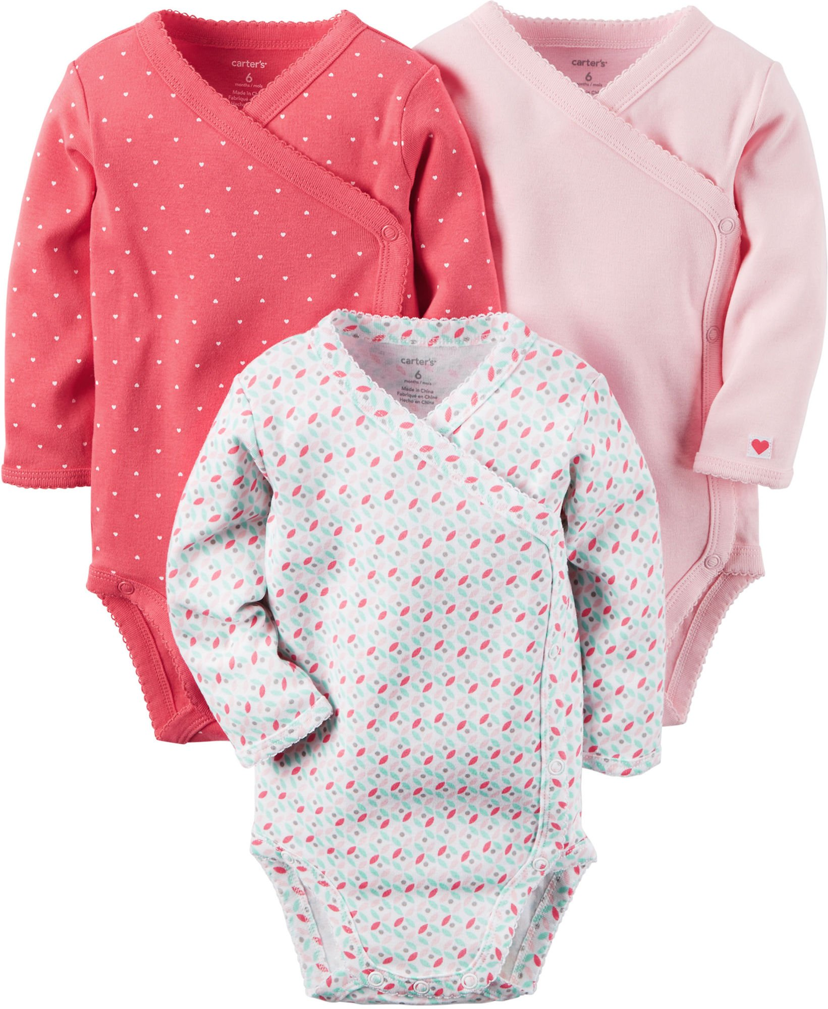 Amazon Com Carter S Baby Girls 3 Pack Side Snap