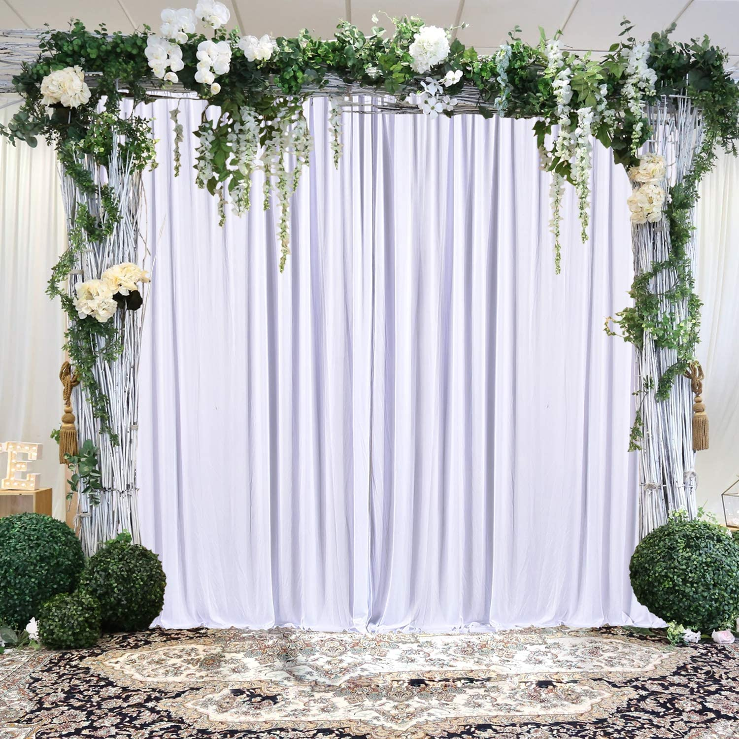 White Backdrop Curtain for Parties Photo Backdrop Wedding Baby Shower  Photography Background with Gold Curtain Tiebacks,Polyester Fabric,9 Panels  9ft