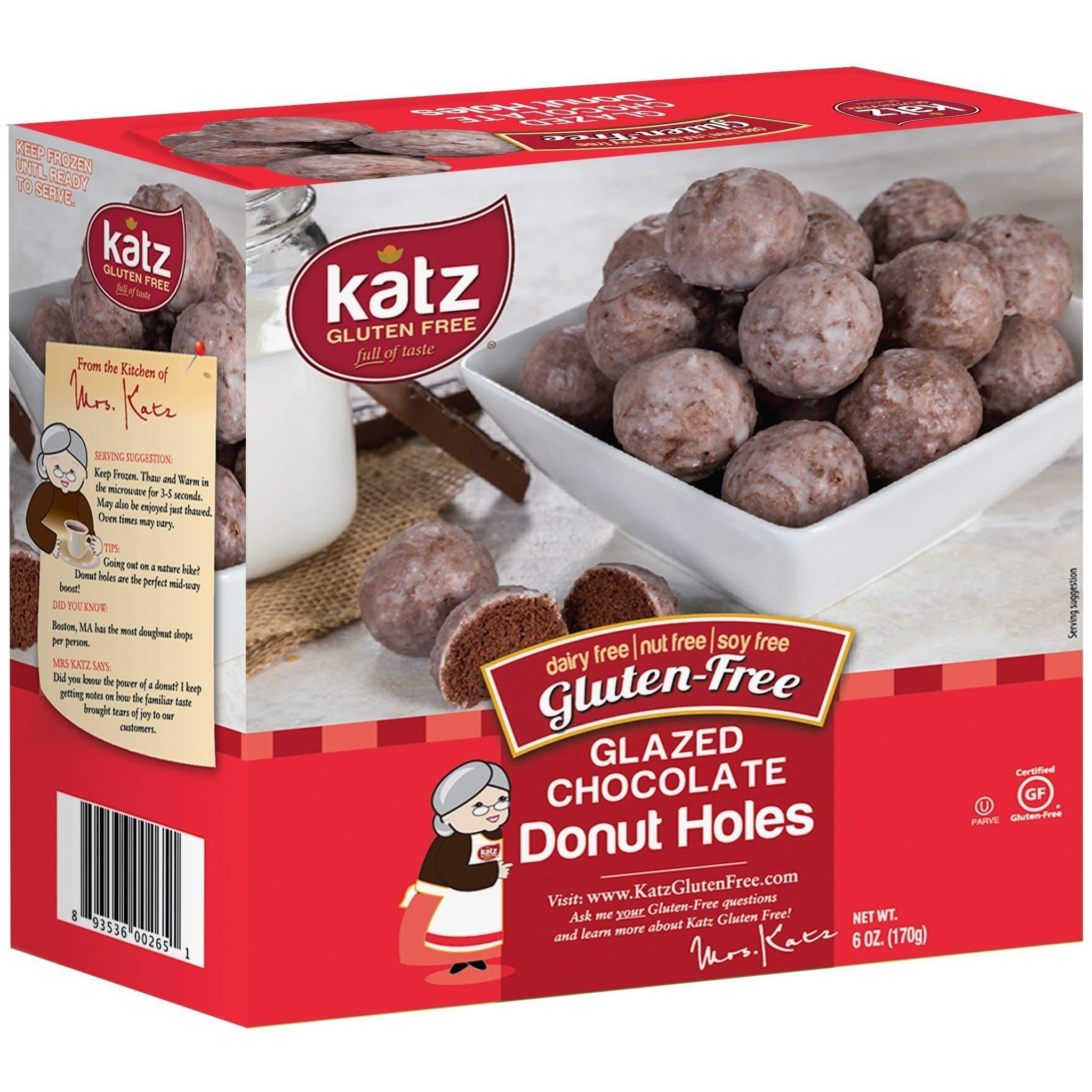 Katz Gluten Free Glazed Chocolate Donut Holes | Dairy, Nut, Soy and Gluten Free | Kosher (3 Packs, 6 Ounce Each) by Katz Gluten Free