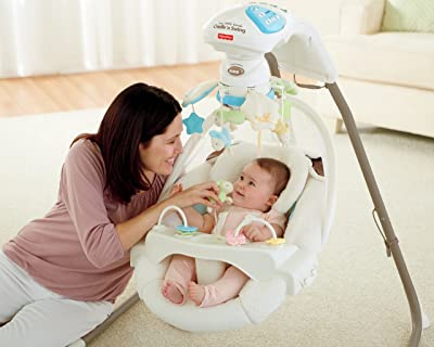 Features Of Fisher Price Cradle 'n Swing with ac adapter my little lamb