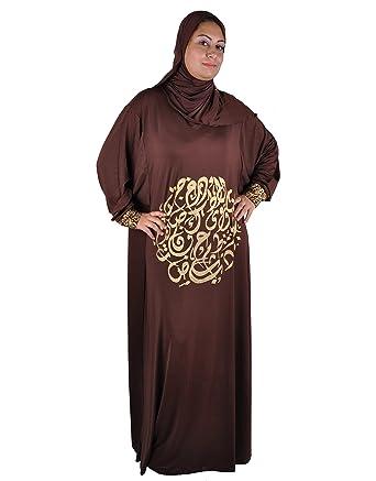 a8002a54d846f8 Egypt Bazar Isdal Abaya Gebetskleid mit arabischer Kalligrafie in goldfarbe  Islamische Kleidung