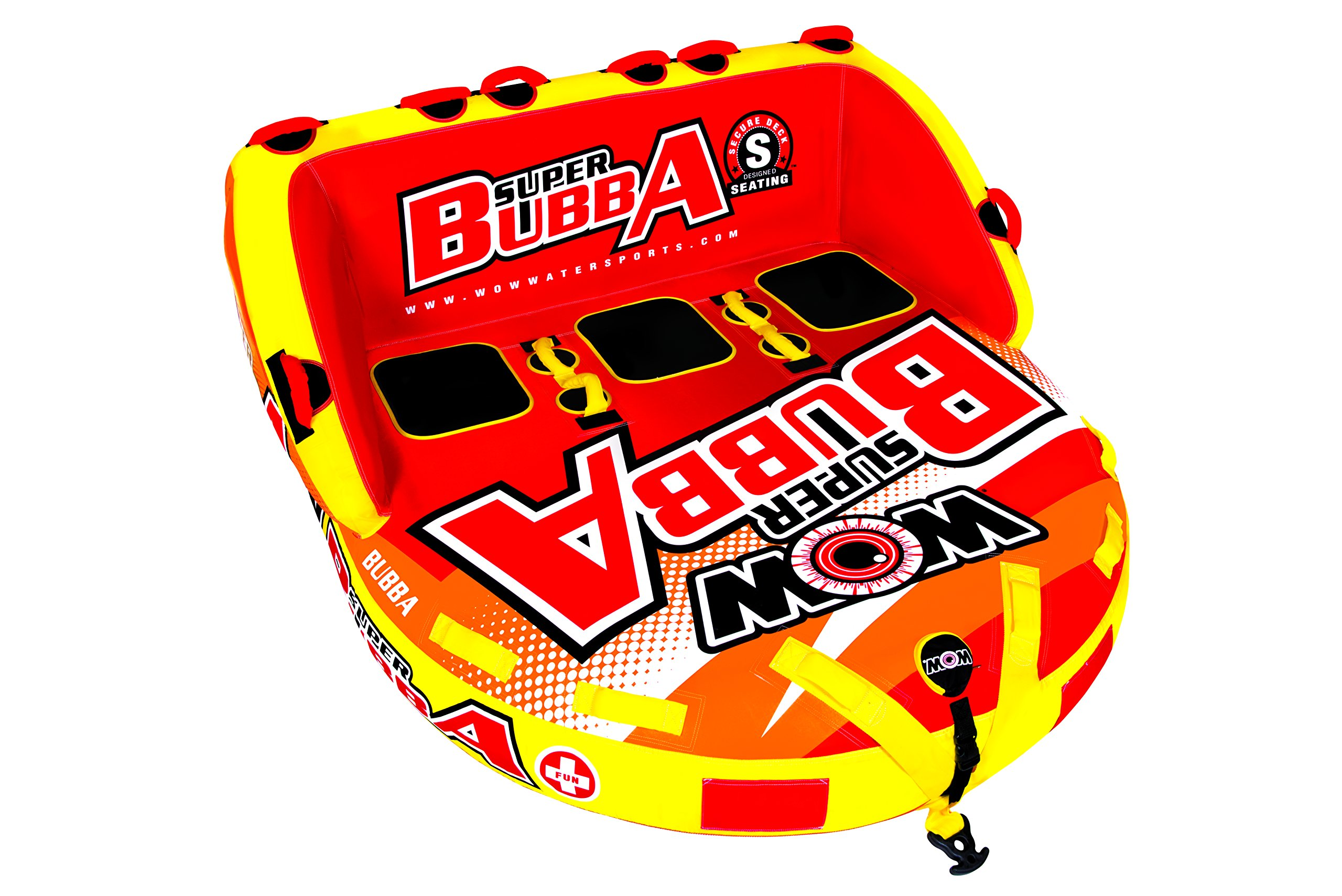 WOW World of Watersports, Big Bubba Hi Visibility Towable Tube Deck Seat, Front and Back Tow Points, 1-3 Riders by WOW Sports