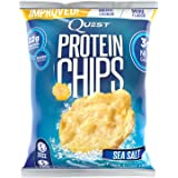 Quest Nutrition Protein Chips, Sea Salt, 22g Protein, 3g Net Carbs, 130 Cals, 1 1/8 oz Bag, High Protein, Low Carb, Gluten Free, Soy Free, Potato Free, 8 Count