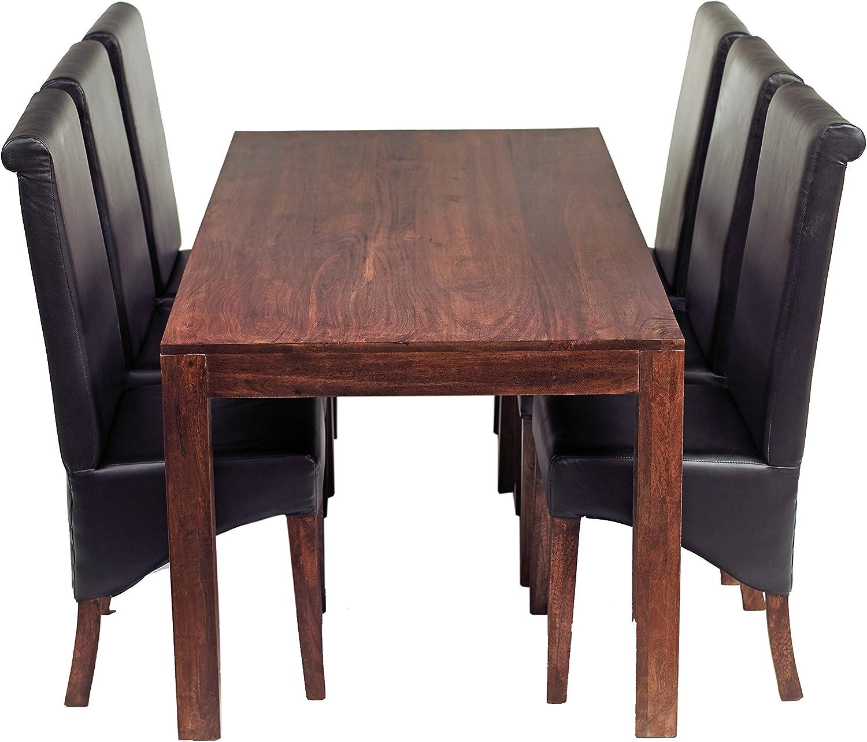 Indiwood Cuba Mango Grande Juego de Comedor con 6 sillas de Piel sólido Mango Oscuro Madera – WXDXH: 180 x 90 x 76: Amazon.es: Hogar