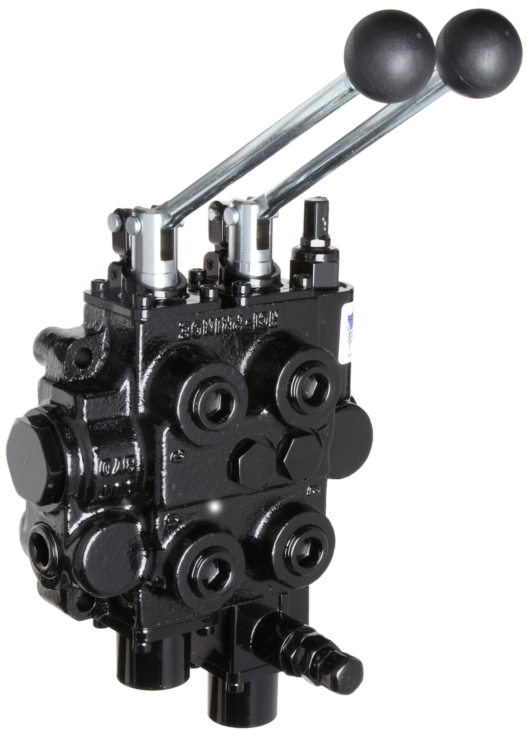 Prince RD523CCEA5A4B1 Directional Control Valve, Monoblock, Cast Iron, 2 Spool, 4 Ways, 3 Positions, Tandem, Pressure Release Detent 1 Position Detent, Spool ''Out'' Only, Spring Center, Spring Center, Lever Handle, 3000 psi, 25 gpm, In/Out: 3/4'' NPT Female