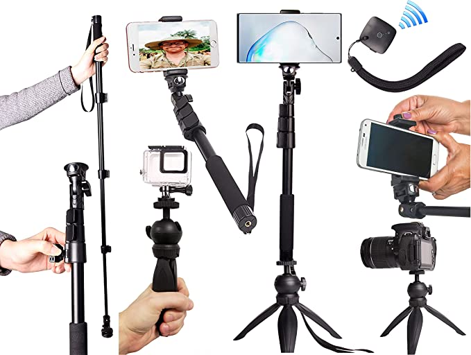 Universal Set: For ANY iPhone Android GoPro Camera Bluetooth Remote ZUUMO iPhone XR X 8 7 6 S Plus Samsung Galaxy S9 S8 S7 S6 S5 Note HEAVY DUTY Premium Selfie Stick Tripod Stand Best 4-in-1 Kit
