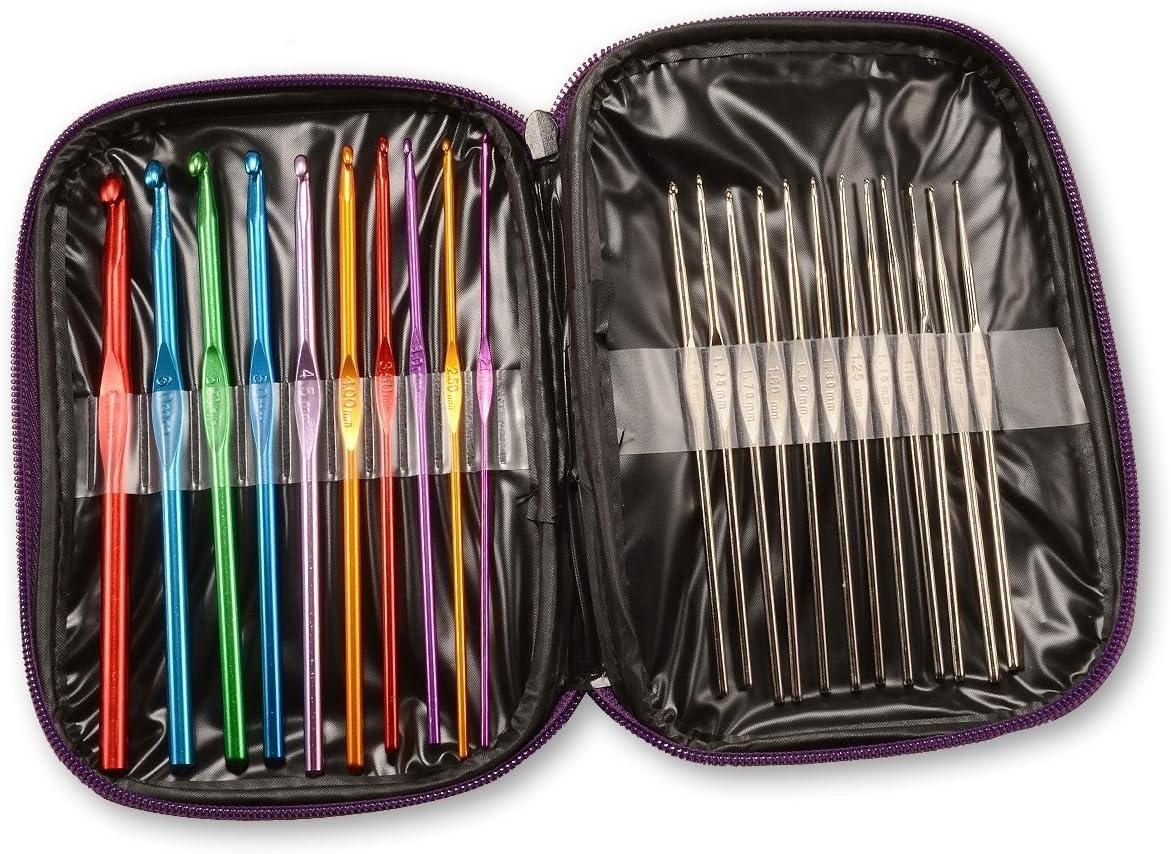 AKORD AT-2 - Estuche de Agujas de Ganchillo (Aluminio y Acero, 22 tamaños, Multicolor): Amazon.es: Bricolaje y herramientas
