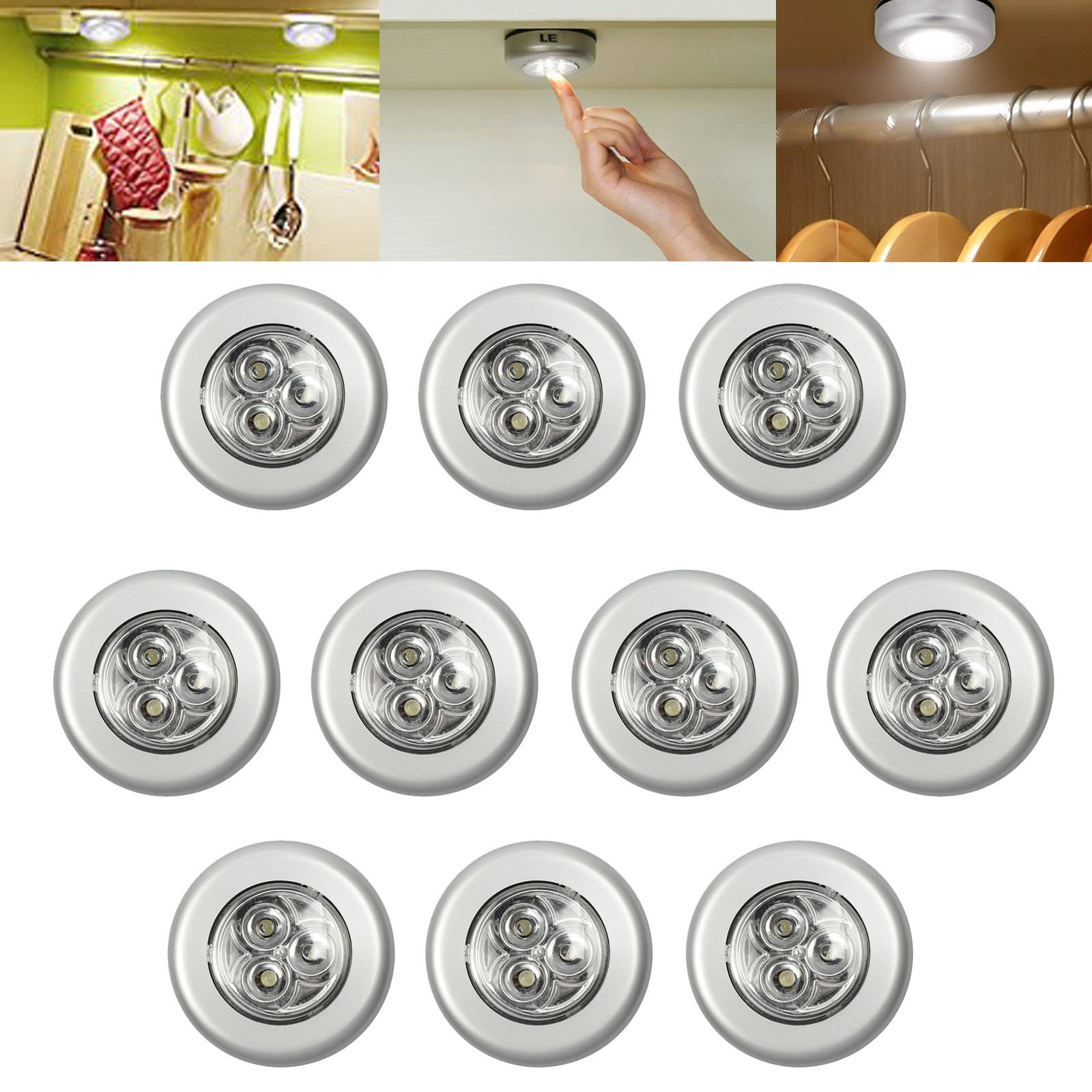 AUTOUTLET 10pcs 3 LED Battery Operated Lights Touch Push on/off Light Self-stick on Click Night Light under Lighting Bright for Closets Kitchen Cabinet Storage Rooms Bedside Light