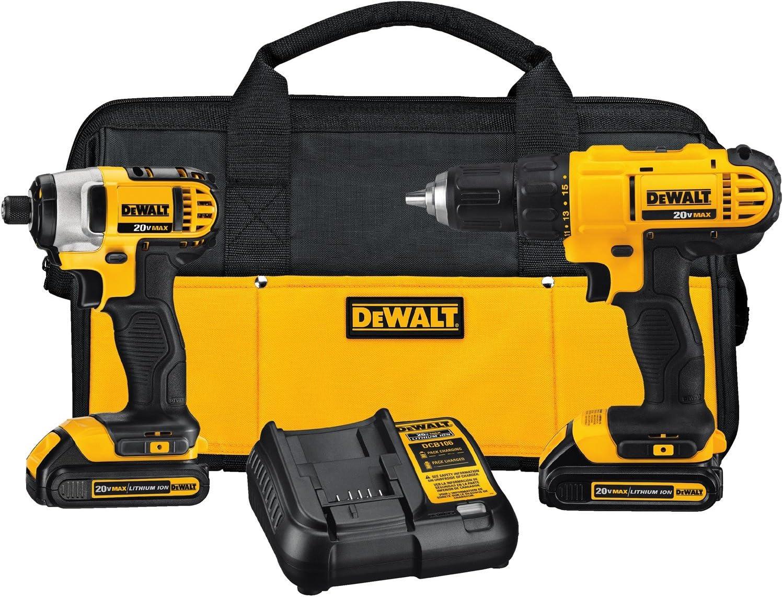 Drill Driver Kit Cordless 20 Volt Dewalt 2 Batteries Charger Tool Bag Heavy Duty