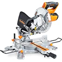 """VonHaus 1500W 8"""" (210mm) Sliding Mitre Saw – Sliding Side Support Bars for Wide Work Pieces – Powerful Performance with +45°/-45° Mitre Cuts – Easily Cuts Through Woods & Plastics with Laser Guide"""