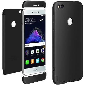 Funda Huawei P8 Lite 2017 Negro, ivencase Carcasa 3 en 1 Duro Tapa Anti-rasguños Mate PC Back Bumper Protector Anti-Scratch Integral Case Cover para ...