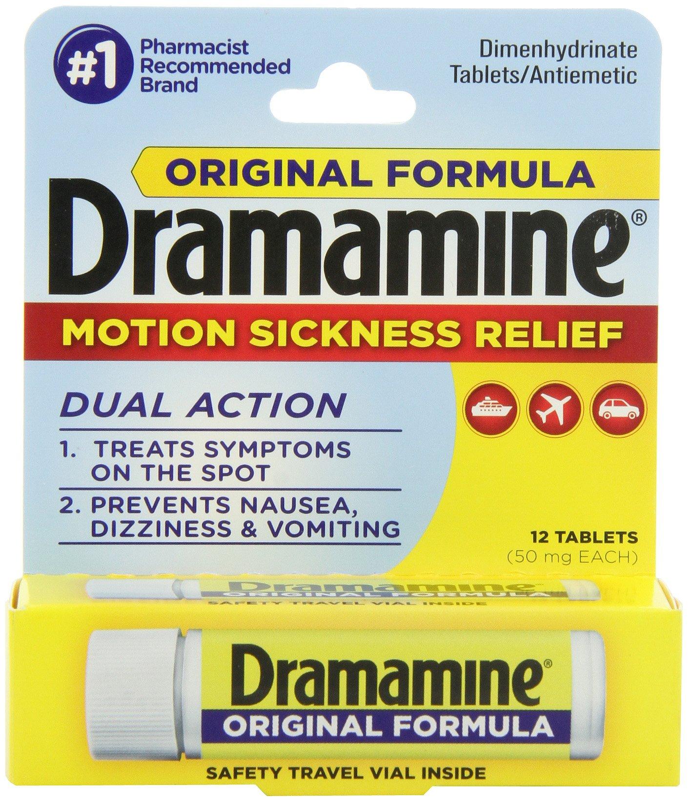 Dramamine Motion Sickness Relief Original Formula, 50 mg, 12 Count