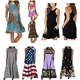 Summer Casual Pocket Tank Dress for Women Vintage Floral Ethnic Sunflowers Tie Dye Arglye Sleeveless Beach Swing Dress