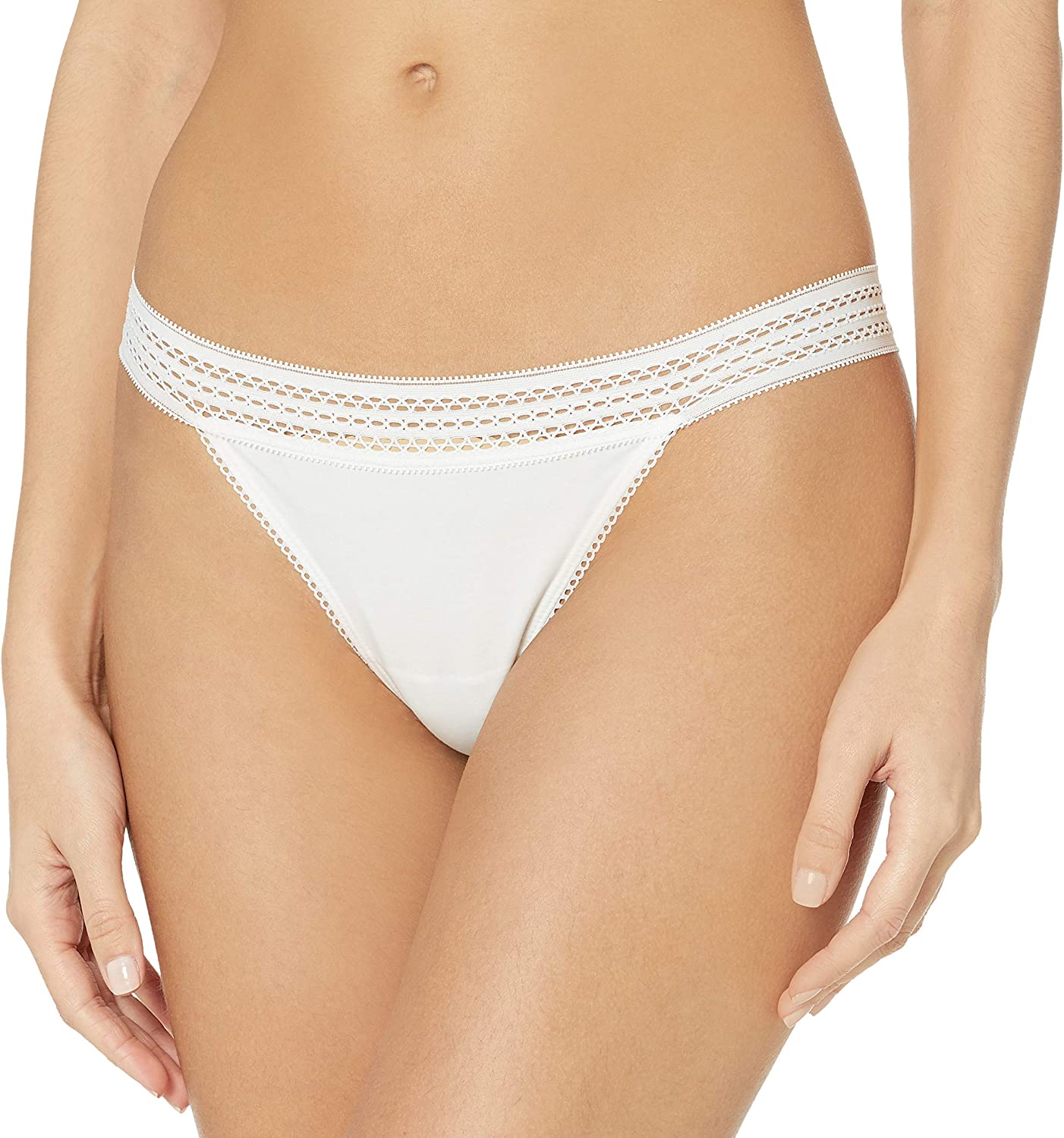 DKNY Womens Classic Cotton Lace Trim Thong