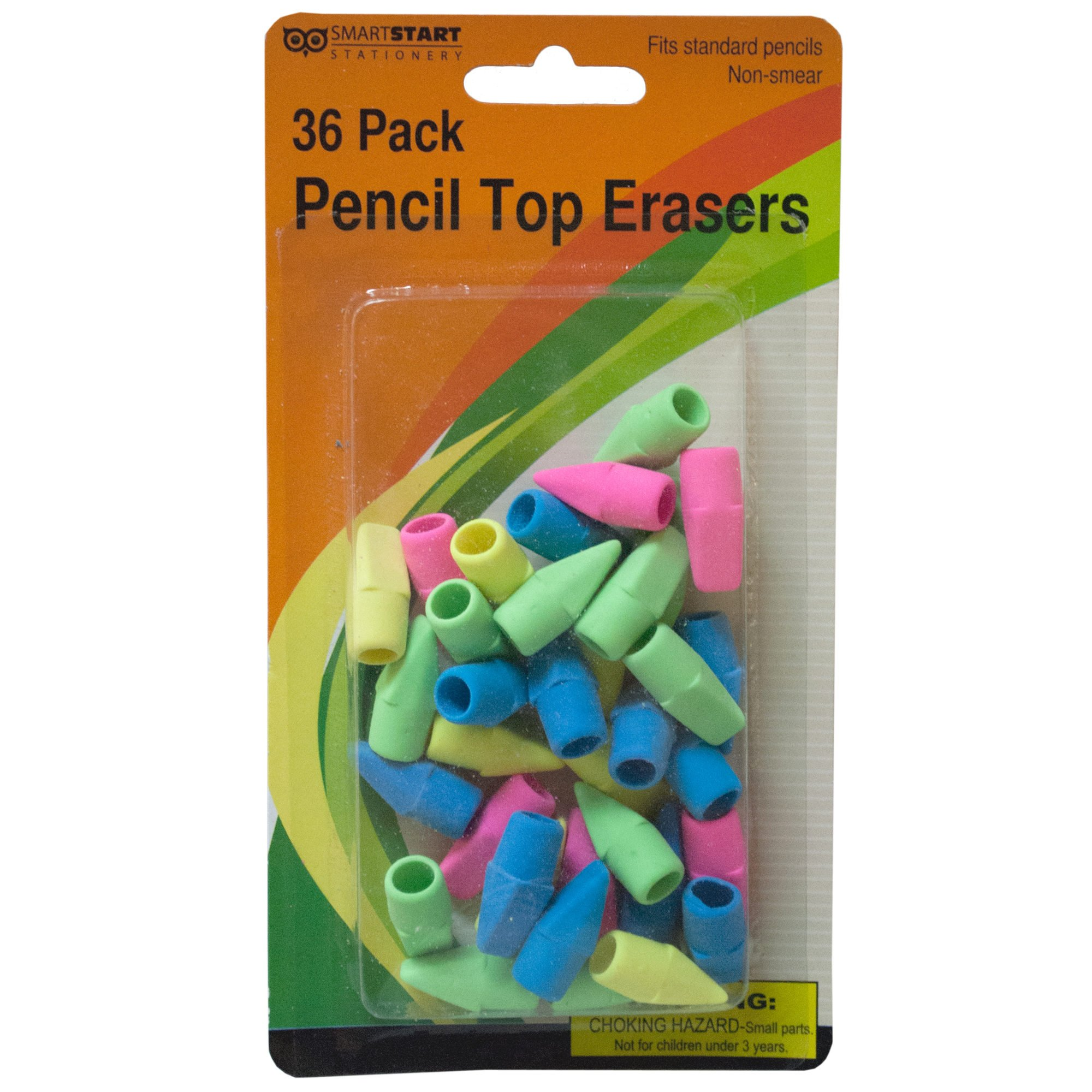 123-Wholesale - Set of 36 Pencil Top Erasers - School & Office Supplies Correction & Erasers