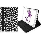 JAMMYLIZARD | Housse iPad Air 1 - Housse de protection rotative iPad Air 1 Housse cuir folio 360°, Noir à pois blanc
