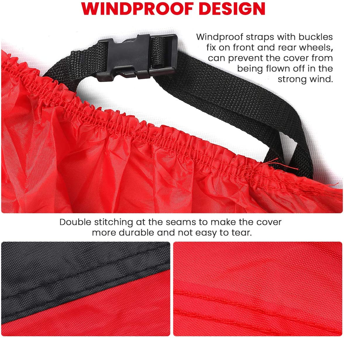 Audew Motorcycle Cover Oxford Fabric Motorcycle Cover Waterproof Outdoor Fits up to 108/'/' Motorcycles All Weather Protection with Reflective Straps 108/'/'L X 57W X 41H Lock-hole and Storage Bag